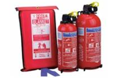 fire blanket and two fire extinguishers