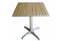 wooden table with metal stand