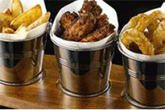 three presentation buckets filled with food placed side by side