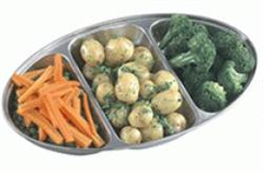 three part vegetable tray with vegetables on