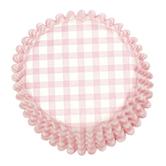 Pink Gingham Printed Cake cases