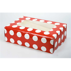 Patterned 6 Cupcake/Muffin Box Polka Dot Red