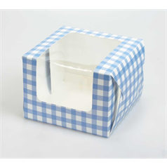 Individual Cup Cake/Muffin Box Blue Gingham