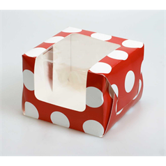 Individual Cup Cake/Muffin Box Polka Dot Red