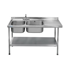 Mini Catering Sinks 1500 x 600mm w/ Double Bowl R-Hand Drainer