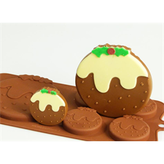 4 + 1 christmas pudding silicone chocolate mould set