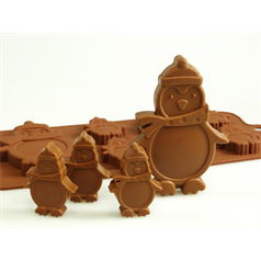 6 + 1 penguin silicone chocolate mould set