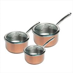 Stainless Steel 3pc Saucepan Set Copper
