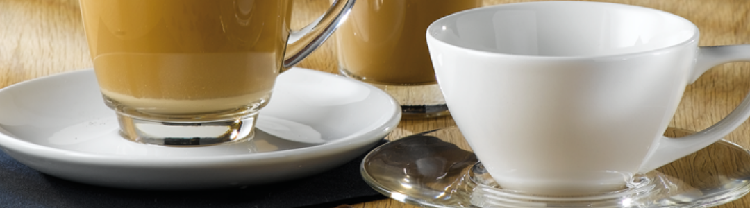 tea and coffe cups with saucers