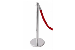 silver stand with red rope