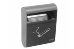 grey cigarette bin with symbol
