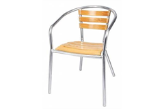 wooden chair with metal legs