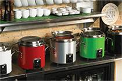 Rrow of coloured soup kettles