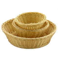 double weave poly wicker basket, round, 7 inches