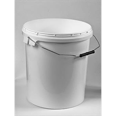 20 Litre White Plastic Bucket with Lid and Handle