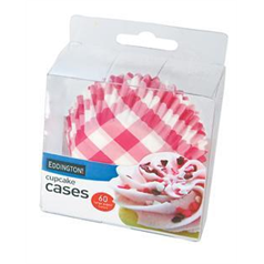 Pink Gingham Cupcake Cases medium, 6.5cm, pk73