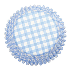 Blue Gingham Printed Cake cases