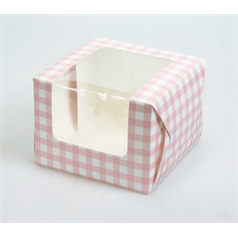 Individual Cup Cake/Muffin Box Pink Gingham