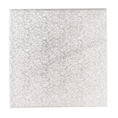 "Single Thick 8"" Square Silver Cake Card"