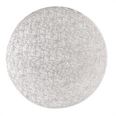 "Single Thick 12"" Round Silver Cake Card"
