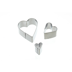 Set of 3 Heart Fondant Cutters