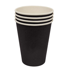 Olympia Black Single Wall Hot Cups - 8oz