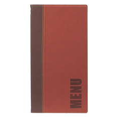 Contemporary Menu Holder Long, 4 Page Facing, 36x18cm, Red