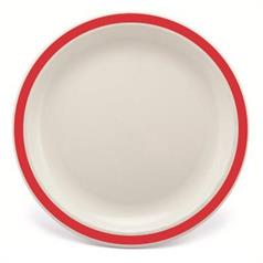 Duo 23cm Large White Plate with Red Rim