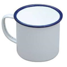Falcon Enamelware White And Blue Enamel Mug, 28.4cl/10oz