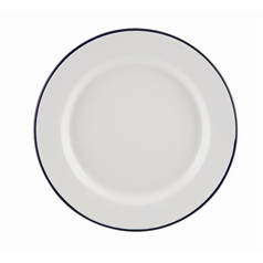 Falcon Enamelware Wide Rim Plate, White and Blue, 20cm
