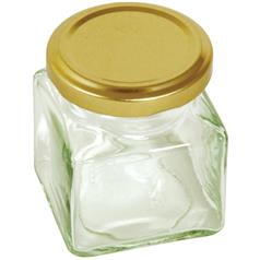 Preserving Jar, Square, With Gold Screw Top Lid, 130ml/5oz