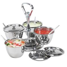 s/s revolving relish server 4 bowls