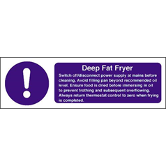 Deep Fat Fryer Instructions Sign