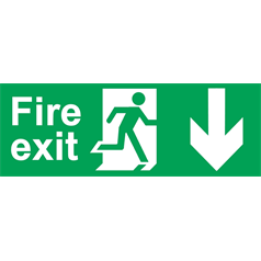 Fire Sign Arrow Down - Self Adhesive