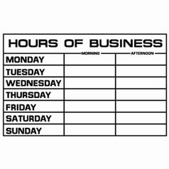 Hours of Business Sign - PVC