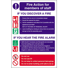 Fire Action for Staff - Self Adhesive