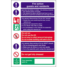 Fire Action for Guests Self Adhesive
