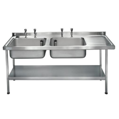 Midi Catering Sinks 1800 x 650mm w/ Double Bowl R-Hand Drainer