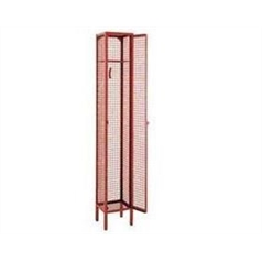 Mesh locker red 6 cube 1980mm high on stand 450 x 450 wide