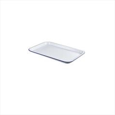 White Enamel Serving Trays 33.5 x 23.5 x 2.2cm