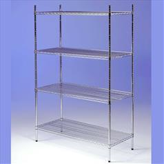 Chrome Wire 4-Tier Shelving 600(l) x 300(d)mm