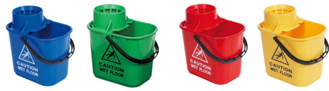 four buckets side by side