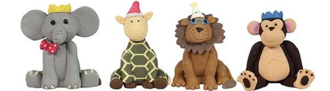 FOUR ANIMAL CAKE TOPPERS WITH PARTY HATS ON