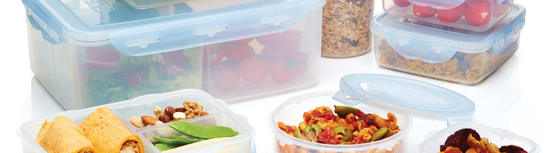 pure seal containers with a variety of foods inside