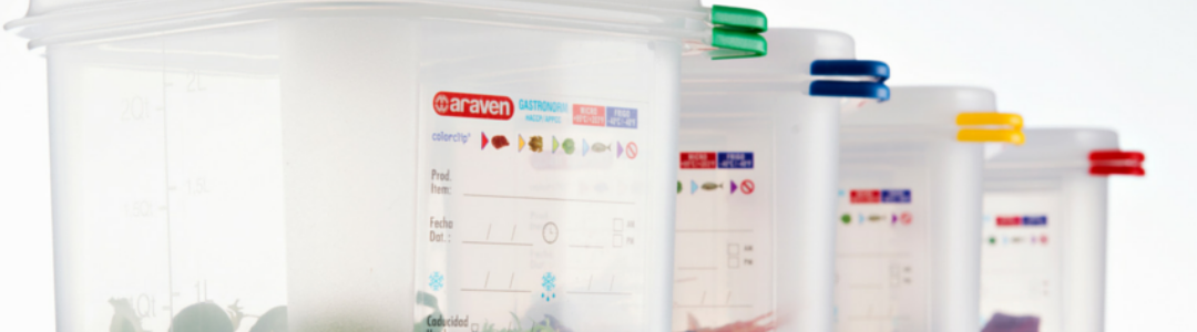 line of Araven containers with coloured corners to prevent cross contamination