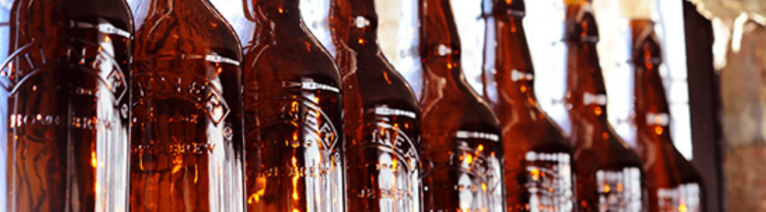 line of brown kilner beer bottles