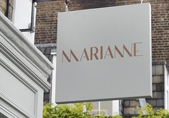 Out door sign for Marianne's restaurant London