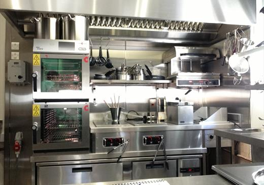 Commercial kitchen at Marianne's restaurant London